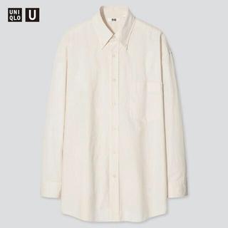 UNIQLO - ユニクロU ワイドフィットシャツ(ボタンダウンカラー・長袖) ナチュラル L