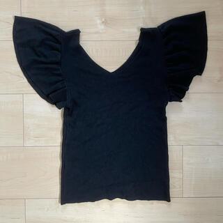 デュラス(DURAS)のDURAS ♡ フリルショルダーニットTシャツ(Tシャツ(半袖/袖なし))