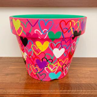 【6号】ハンドメイド 植木鉢 リメ鉢 ピンクハート(プランター)