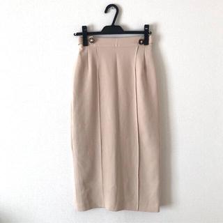 リリーブラウン(Lily Brown)のリリーブラウン タイトスカート ボタン付き S ベージュ(ひざ丈スカート)