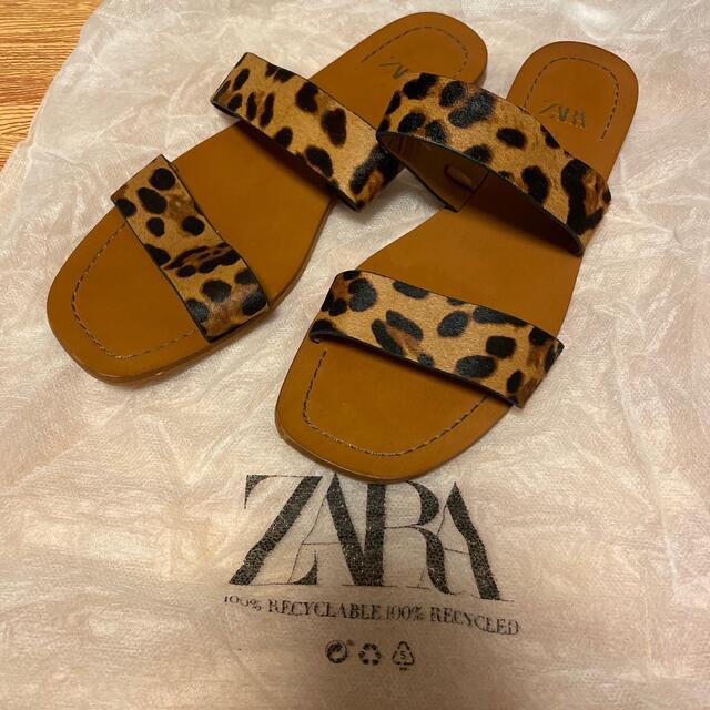 ZARA(ザラ)のZARA レオパード柄サンダル 37 レディースの靴/シューズ(サンダル)の商品写真