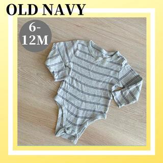 オールドネイビー(Old Navy)の美品 OLD NAVY オールドネイビー ボーダー  長袖 ロンパース 80(ロンパース)