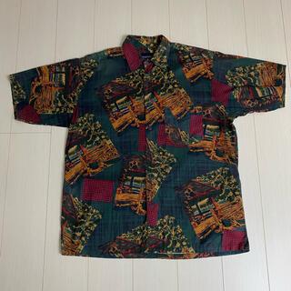 NAUTICA - NAUTICA 90s デザインシャツ 総柄シャツ ノーチカ 古着 半袖シャツ