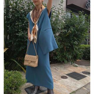 アメリヴィンテージ(Ameri VINTAGE)のAMERI OTONA WRAP VEST SET UP DRESS M ブルー(セット/コーデ)