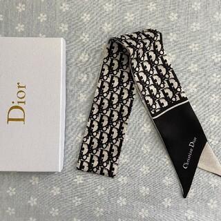 クリスチャンディオール(Christian Dior)の美品 小物 クリスチャンディオール スカーフ ブラック(バンダナ/スカーフ)
