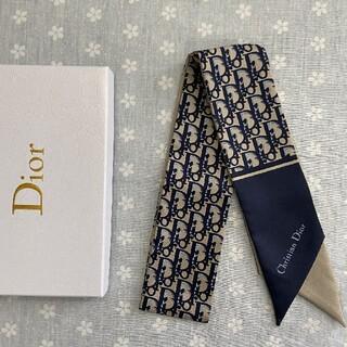 クリスチャンディオール(Christian Dior)の美品 小物 クリスチャンディオール スカーフ ネイビー(バンダナ/スカーフ)