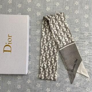 クリスチャンディオール(Christian Dior)の美品 小物 クリスチャンディオール スカーフ グレー(バンダナ/スカーフ)
