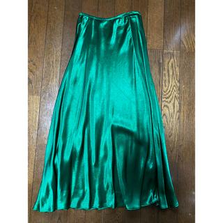 ZARA - ZARA グリーンサテンスカート