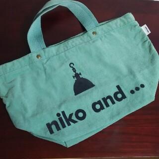 ニコアンド(niko and...)のniko and ...  ミニトートバッグ  コーデュロイ グリーン系  中古(トートバッグ)