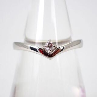 4℃ - 4℃ Pt950 ダイヤモンド V字 リング 9号[g547-5]