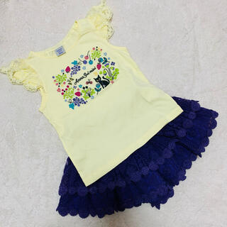 ANNA SUI mini - アナスイミニ ネコ×フルーツ刺しゅうTシャツ110 &ショートパンツ110