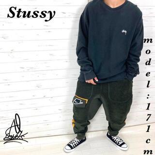 ステューシー(STUSSY)の《入手困難》リバース素材 Stussyステューシー XL☆ブラック黒 肉厚 刺繍(スウェット)