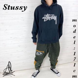 ステューシー(STUSSY)の《入手困難》Stussy ステューシー パーカー L☆ブラック 黒 刺繍デカロゴ(パーカー)