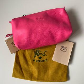 イルビゾンテ(IL BISONTE)のイルビゾンテ ポーチ 革 C0523 ピンク コスメポーチ 新品(ポーチ)