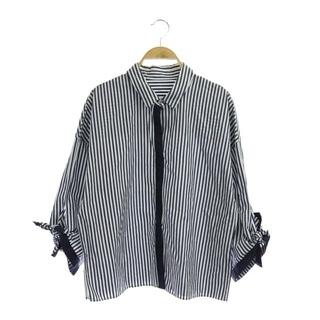 アナイ(ANAYI)のアナイ ANAYI ストライプシャツ 長袖 38 紺 白 ネイビー ホワイト(シャツ/ブラウス(長袖/七分))