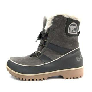 ソレル(SOREL)のソレル ショートブーツ ムートンブーツ スエード 25.0cm グレー(ブーツ)