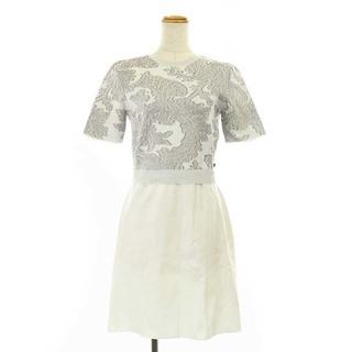 ルイヴィトン(LOUIS VUITTON)のルイヴィトン メタリックジャガードニットドレス ワンピース 膝丈 M 白 茶(ひざ丈ワンピース)