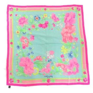 レオナール(LEONARD)のレオナール スカーフ 花柄 総柄 シルク マルチカラー ピンク 緑 白(バンダナ/スカーフ)