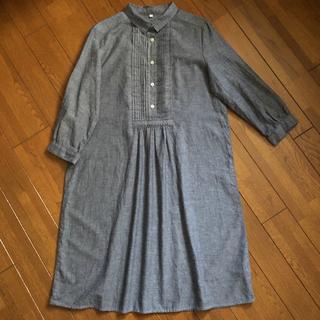 MUJI (無印良品) - 無印良品 ワンピース 七分袖 グレー コットン100% Sサイズ