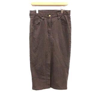 ドゥーズィエムクラス(DEUXIEME CLASSE)のドゥーズィエムクラス スカート 後染め ロング タイト 38 M 茶(ロングスカート)
