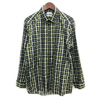 ケンゾー(KENZO)のケンゾー KENZO シャツ SLIMFIT チェック 長袖 41 黒 黄色(シャツ)