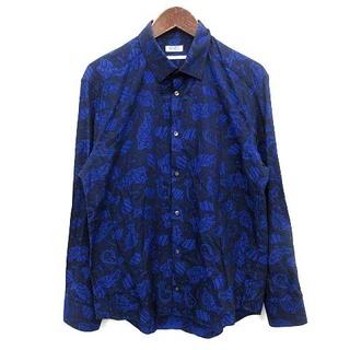 ケンゾー(KENZO)のケンゾー KENZO シャツ slim fit 総柄 長袖 41 青 ブルー(シャツ)