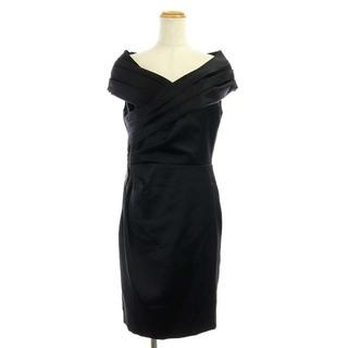 グレースコンチネンタル(GRACE CONTINENTAL)のグレースコンチネンタルL ビジュー ドレス ワンピース サテン ひざ丈 38 黒(ひざ丈ワンピース)