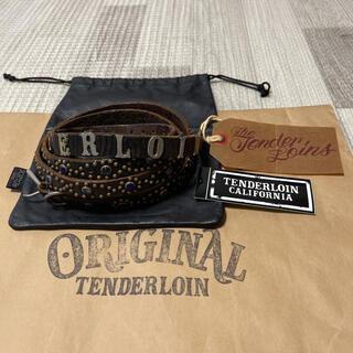 テンダーロイン(TENDERLOIN)の希少品! TENDERLOIN HTC PORTER ナロー ベルト 黒 青 L(ベルト)