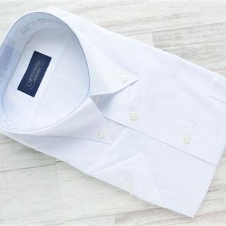 ボタンダウン半袖ドレスシャツ ホワイト 無地 3L(46-半) 形態安定