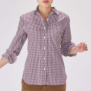 MUJI (無印良品) - ◆無印良品◆新品 ギンガムチェックシャツ ボルドー M