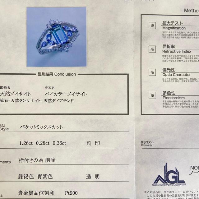 『専用です』天然非加熱バイカラーゾイサイト 1.26×0.28×0.36 レディースのアクセサリー(リング(指輪))の商品写真