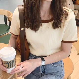 GU - リブカットソー Tシャツ バイカラー パイピング リブ カットソー 半袖