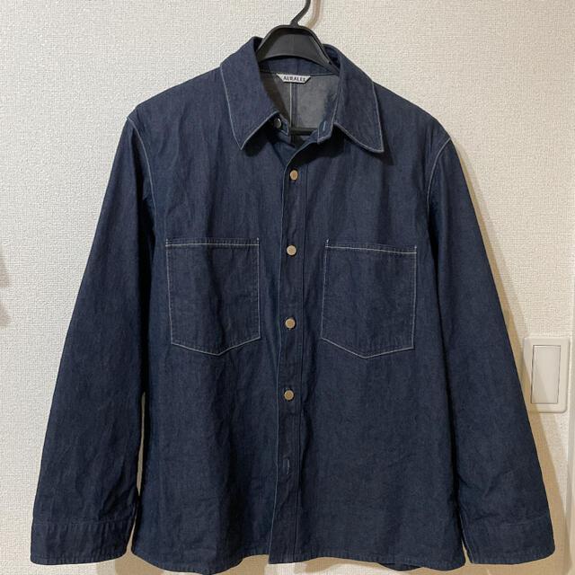 COMOLI(コモリ)のAURALEE HARD TWIST LIGHT DENIM BLOUSON メンズのジャケット/アウター(Gジャン/デニムジャケット)の商品写真