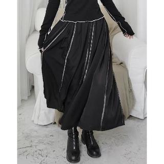 antiqua - ダークブラック デザイナーズ オープンライン ミドル スカート