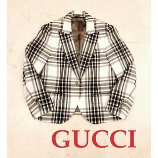 Gucci - 新品 GUCCI グッチ チェック ジャケット モノトーン 白黒