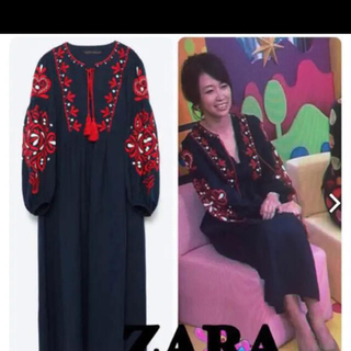 ZARA - 刺繍 ワンピース