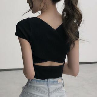 ロイヤルパーティー(ROYAL PARTY)のバッククロスデザイントップス(ブラック)(カットソー(半袖/袖なし))