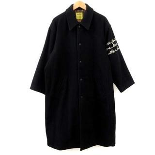 バツ(BA-TSU)のバツ ステンカラーコート ロング 刺繍 裏地ペイズリー ウール 黒 大きいサイズ(ステンカラーコート)