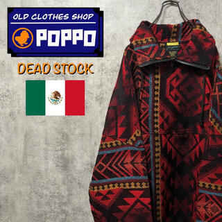 【デッドストック】メキシコ製☆ネイティブ柄ジップネックメキシカンバハシャツ
