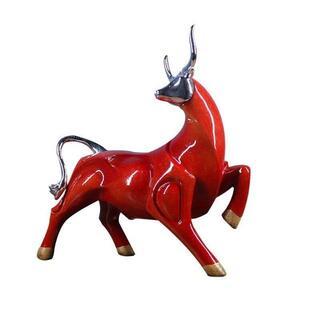 置物 オブジェ うし 風水 高級 インテリア 赤 牛(ローテーブル)