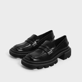 チャールズアンドキース(Charles and Keith)のチャールズアンドキース ペルリーネ チャンキーペニーローファー (Black)(ローファー/革靴)