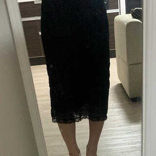 ドルチェアンドガッバーナ(DOLCE&GABBANA)のドルチェ&ガッバーナ タイトスカート  黒 38(ひざ丈スカート)