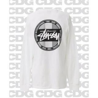 ステューシー(STUSSY)のstussy × CDG コラボ ロングスリーブTシャツ 長T  新品 ホワイト(Tシャツ/カットソー(七分/長袖))