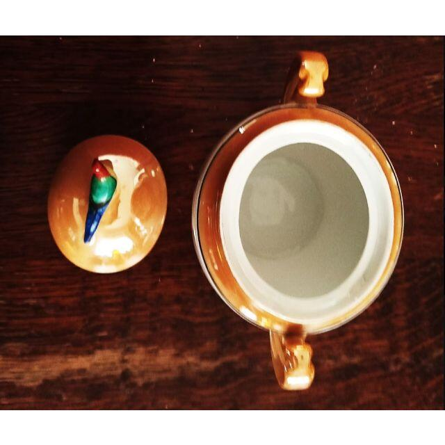 Noritake(ノリタケ)のアールデコ!オールドノリタケ 尾長鳥付きシュガーポット ラスター彩 インテリア/住まい/日用品のインテリア小物(置物)の商品写真