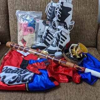 12点セット木製バット付Harley Quinnコスチュームハーレクインコスプレ(衣装一式)