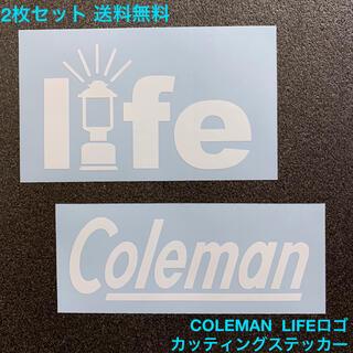 Coleman - 白 LIFEロゴ 2枚セット COLEMAN カッティングステッカー -2