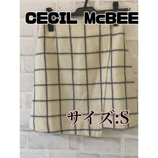 セシルマクビー(CECIL McBEE)のチェック柄 ウール素材 ミニスカート(ミニスカート)