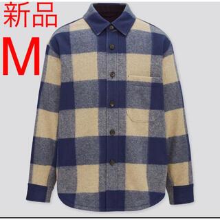UNIQLO - 新品 ユニクロ オーバーシャツジャケット Mサイズ 65ブルー