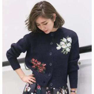 TSURU by Mariko Oikawa - seventen  ケイタマルヤマ セブンテン フラワー刺繍ニットカーディガン