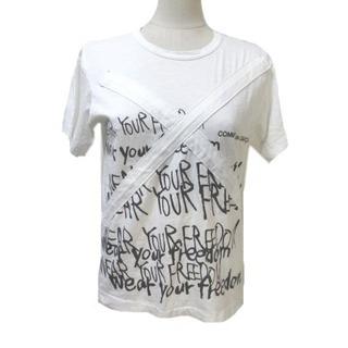 コムデギャルソン(COMME des GARCONS)のコムデギャルソン Tシャツ カットソー 半袖 ロゴプリント 白 ホワイト S(Tシャツ(長袖/七分))